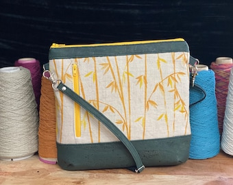 Bamboo hand printed, Slim Crossbody Bag with Cork accents