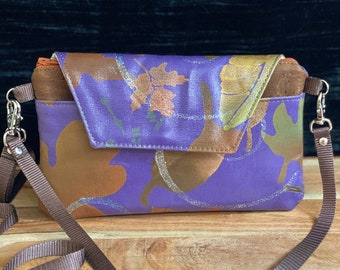 Hand made, painted with leaf motif, wristlet, clutch, crossbody