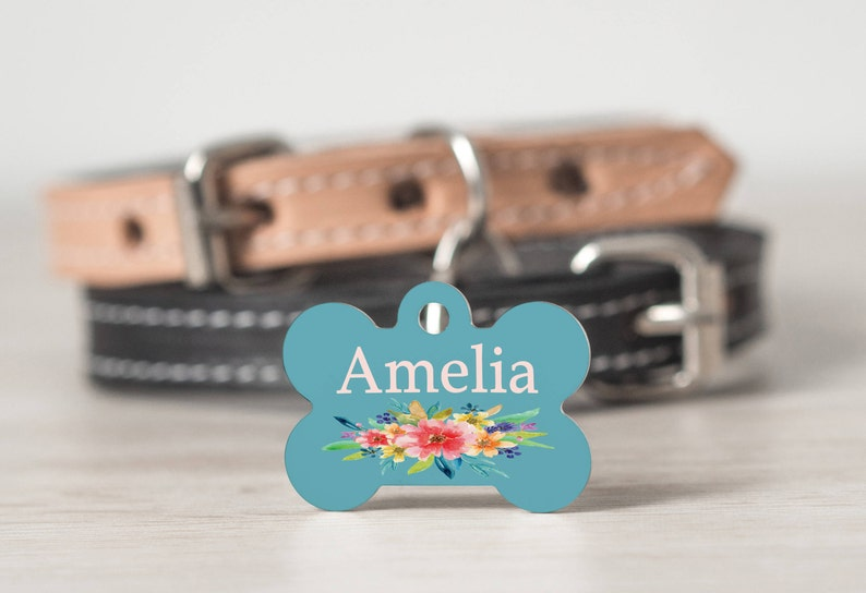Pet Id Tag for Dogs Double Sided Girl Dog Tag Personalized dog Tag Floral Dog Tag Collar Tag for Dogs Watercolor Design