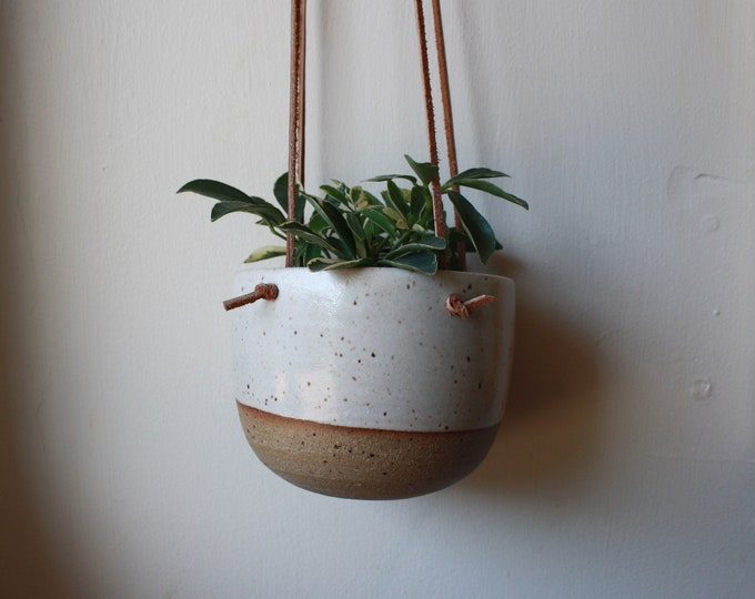 Small Hanging Planter  - Speckled White - Leather and Ceramic - Brown Knotted Leather - Handmade - KJ Pottery