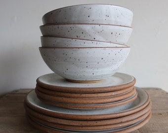 Dinner Plate - Salad Plate - Bowl - Raw Edge - Dinnerware - 1 Place Setting - KJ Pottery