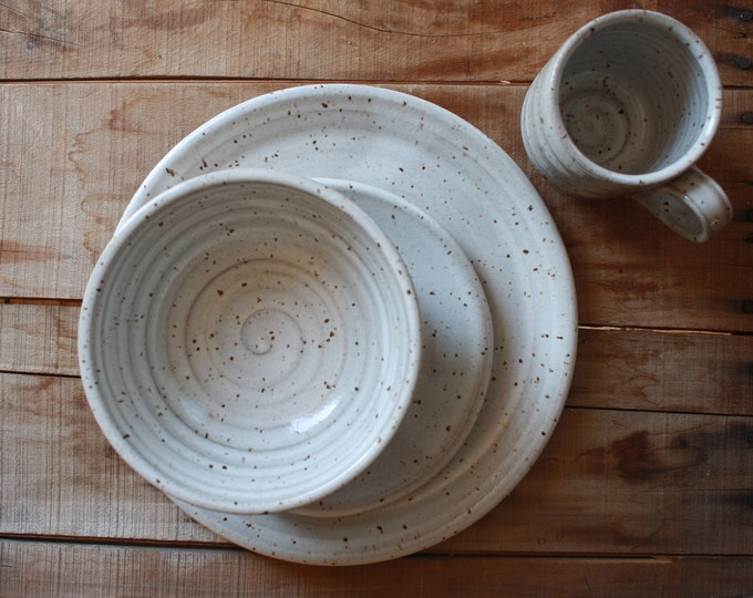 Dinner Ware Set - Four Piece Set - Dinner Plate - Salad Plate - Bowl - Mug - Handmade - Ceramics & Pottery - KJ Pottery