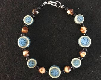 Ceramic Blue/Brown Beaded Bracelet