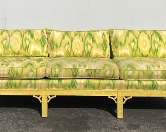 Chinoiserie Sofa Couch Bench Settee Loveseat Fretwork Chinese Boudoir Bed Vintage Hollywood Regency Entry Chippendale Seating Flamestitch