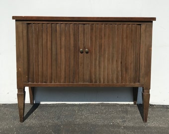 Wood Cabinet Console Table Traditional Baker Furniture Tambour Door Trunk Storage Dresser Buffet TV Stand Media Entry Way CUSTOM PAINT Avail
