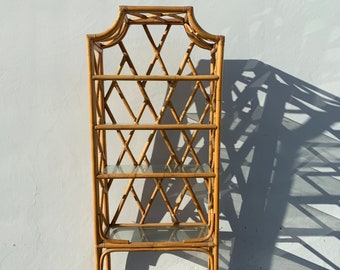 Rattan Bookcase Wicker Woven Jute Etagere Shelves Book Case Display Shelf Shelves Storage Regency Miami Tropical Beach Style Rattan Bamboo