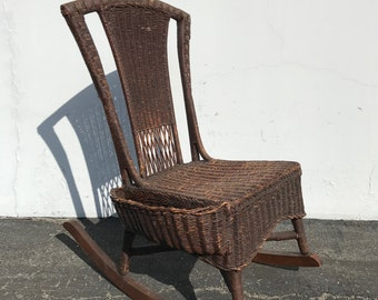 Rocking Chair Antique Woven Wicker Rocker Rustic Primitive Armchair Glider Seating Rattan Shabby Chic Coastal Country French Chair Nursery