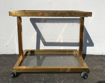 Accent Table Gold Brass Coffee Hollywood Regency Mastercraft Milo Baughman Glass Mid Century Modern MCM End Side Boho Vintage Living Room