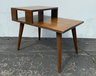 2 Tier Mid Century Modern Danish Accent End Side Table MCM Midcentury Coffee Nightstand Magazine Wood Eames Era Bedside Living Room