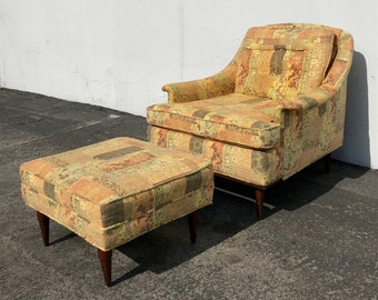 2pc Mid Century Lounge Chair Armchair Ottman Modern Craft Adrian Pearsall Accent Hollywood Regency Vintage Seating Retro Living Room Boho