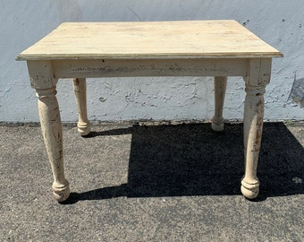Antique Wood Table Traditional Shabby Chic Nightstand Accent Side End Table Carved Vintage Entry Neoclassical Country Farmhouse Primitive