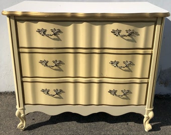 French Provincial Nightstand Bachelor Chest Bedside Table Bombe Gold Neoclassical Furniture Console Bedroom Shabby Chic CUSTOM PAINT AVAIL