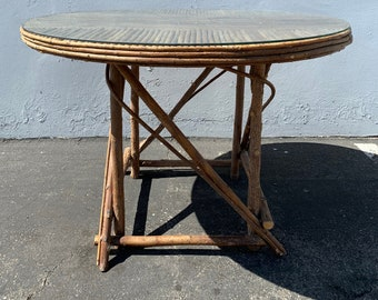 Rustic Primitive Wood Rattan Dining Table Kitchen Seating Reclaimed Cabin Round Bohemian Boho Chic Vintage Glass Top Antique Farmhouse