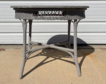 Antique Rattan Wicker Table Round Dining Primitive Rustic Furniture Woven Bohemian Boho Chic Decor Coastal Tropical Faux Bamboo Kitchen