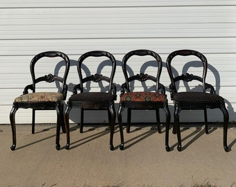 Set of 4 Antique Dining Chairs Kitchen Seating Furniture Dining Chairs Regency Shabby Chic Seating Armchair Chair Cottage French Provincial