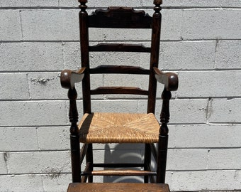 Antique Rustic High Chair Primitive Children Kids Furniture Shabby Chic Farmhouse Chair Seating Desk Chair Midcentury Retro Wood Rustic