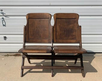 Folding Chairs Vintage Antique Waiting Room Theater Stadium Seats Row Wood Rustic Farmhouse Primitive Seating Folding Chiar Bench Row Chair