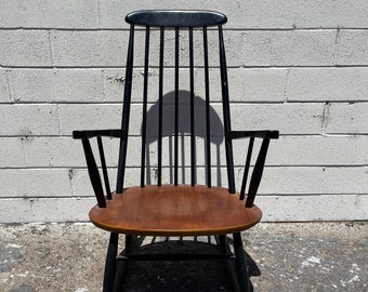 Antique Mid Century Modern Rocking Chair Danish Farstrup Mobler Style Rocker Armchair Spindle Wood Nursery Room Furniture CUSTOM PAINT Avail