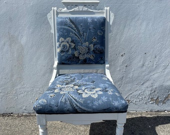 Beautiful Antique Eastlake Chair Carved Wood Shabby Chic Accent Seating Ornate Caster Vanity Desk Chair Victorian Upholstered Fabric