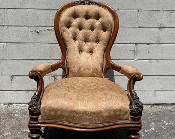 Antique Chair French Provincial Boudoir Vanity Seating Bedroom Glam Shabby Chic Victorian Carved Wood Blue Fabric Regency Bench Seat