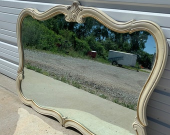 Vintage Wall Mirror French Provincial Vanity Makeup Dressing Room Shabby Chic Glam Antique Bedroom Hollywood Regency Cottage Bohemian Boho