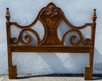 Ornate Antique Headboard Carved Wood Poster Style Elegant Boho Regency Romantic  Neoclassical Full Queen Size Bed Chic CUSTOM PAINT AVAIL