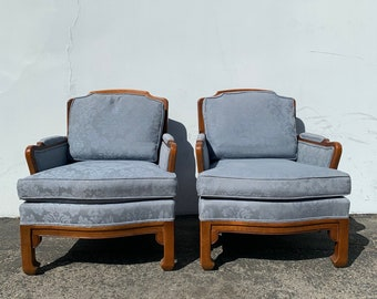 2 Chairs Ming James Mont Thomasville Chinese Chippendale Regency Pair of Armchairs Chinoiserie Seating Mid Century CUSTOM PAINT AVAIL