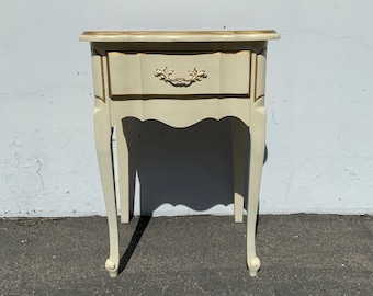 French Provincial Nightstand Beside Table Wood Bedroom Storage Vintage Shabby Chic Rococo Baroque Regency Paint Cottage CUSTOM PAINT AVAIL
