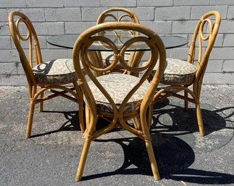 6pc Dining Set Rattan Faux Bamboo Chairs Table Hollywood Regency Chinese Chippendale Coastal Bohemian Boho Chic Wood Vintage Kitchen Wicker