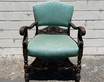 Antique Armchair Chair Carved Wood Traditional Seating Lounge  Accent Captains Seat Victorian Deco Furniture Side Chair Arts and Craft