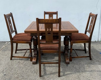 7pc Antique Wood Dining Set Wood Table 4 Chairs Extending Leaf Seating Traditional Vintage Country Farmhouse Arts and Crafts Jacobean