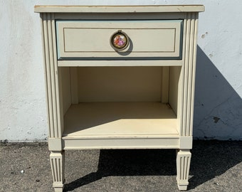 Vintage Nightstand Bedside Table Accent Regency Glam French Provincial Mid Century Modern  Media Console Bedroom Storage CUSTOM PAINT AVAIL