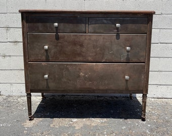 Antique Metal Dresser Simmons Rustic Chest of Drawers Furniture Bedroom Storage American Traditional Primitive Vintage CUSTOM PAINT AVAIL