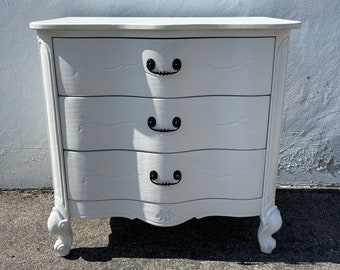 French Provincial Chest Nightstand Dresser Bombe Bachelor Bedside Table Furniture Console Bedroom Antique Shabby Chic CUSTOM PAINT AVAIL