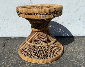 Rattan Stool Bentwood Peacock Style Ottoman Footrest Rattan Hassock Wood Vintage Seating Mid Century Furniture Bohemian Boho Chic