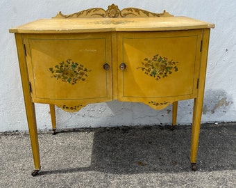 Antique Wood Buffet Cabinet Country French Shabby Chic Sideboard Hutch Wood TV Media Console France Country Storage Table CUSTOM Paint Avail