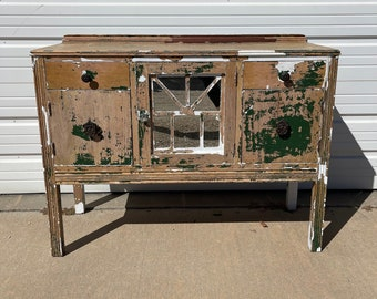 Antique Buffet Cabinet Console Farmhouse Shabby Chic Mirror Tea Bar Cart Server Storage Chippy Paint Rustic Regency Vintage Media Table