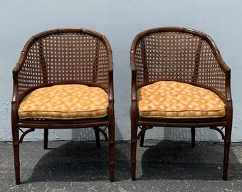 2 Bamboo Chairs Cane Set of Armchairs Chinese Chippendale Wood Regency Hollywood Vintage French Provincial Seating Dining Chair Chic Pair