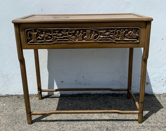 Antique Asian Style Console Sofa Table Wood Desk Chinoiserie Sofa Table Carved Entry Way Chinese Bohemian Boho Chic CUSTOM PAINT AVAIL