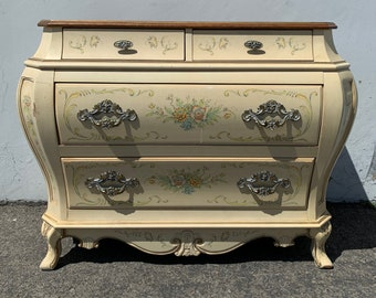 French Provincial Nightstand Dresser Table Bombe Bachelor Chest Neoclassical Furniture Bedroom Shabby Chic Italian CUSTOM PAINT AVAIL
