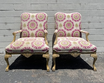 Pair of Chairs French Armchairs Bergere French Provincial Neoclassical Wood Shabby Chic Hollywood Regency Seating Carved Wood Vintage