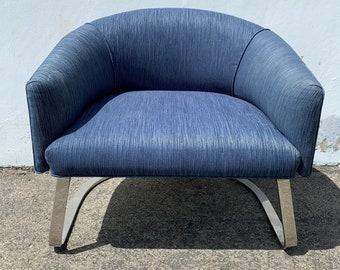 Vintage Chair Armchair Milo Baughman Style Chrome Metal Mid Century Modern MCM Hollywood Regency MCM Dining Retro Vintage Chair Seating