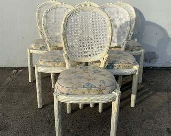 6 Faux Bois Chairs Italian Dining Set of Chair Bohemian Boho Miami Beach Hollywood Regency Seating Vintage Tropical Glam Wood Designer