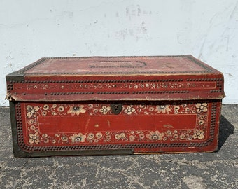 Antique Asian Inspired Chinoiserie Trunk Coffee Table Hope Chest Blanket Bed Bench Brass Leather Camphor Wood Chinese Carved Regency Glam
