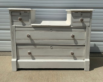 Antique Dresser Vanity Chest Shabby Chic Finish Storage Drawers Buffet Vanity Country Bedroom Set Table Chalk Paint Rustic Farmhouse Boho