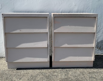 Pair of Nightstands Mid Century Furniture Bedside Tables Retro Modern Cabinet Credenza Storage Media Vintage Boho Chic CUSTOM PAINT AVAIL
