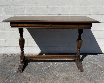 Console Table Expanding Traditional Country French Provincial Pedestal Neoclassical Shabby Chic Hollywood Regency Carved Wood Vintage