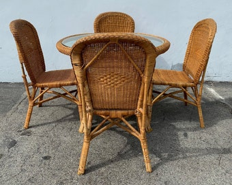 Vintage Wicker Dining Set 4 Chairs Table Glass  Hollywood Regency Chinese Chippendale Coastal Bohemian Boho Chic Wood Vintage Kitchen Wicker