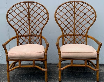 Pair of Chairs Bamboo Set Armchair Bohemian Boho Chic Wingback Living Room Mid Century Bentwood Furniture Accent Seating Dining Chair