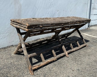 Antique Rustic Bench Primitive Wood Style Stool Ottoman Cabin Footstool Footrest Hassock MCM Seating Wood Folding Bed Boho Bohemian Reclaim